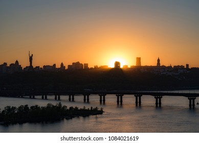 City of Kiev at sunset