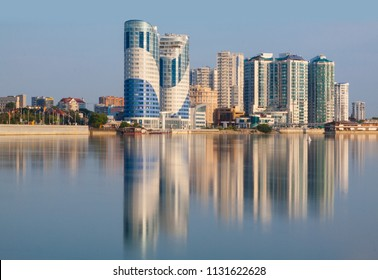 The city of Krasnodar, the Kuban River House reflection in the water
