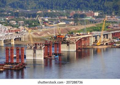 City of Krasnoyarsk. Construction of the Fourth road bridge above the Yenisei River. Siberia, Russia, 22.07.2014.