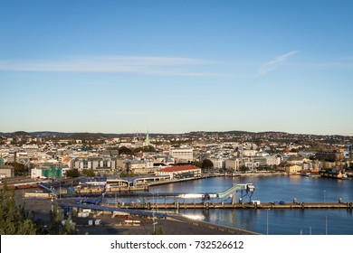 The city of Kristiansand, Norway, seen from above at a distance.