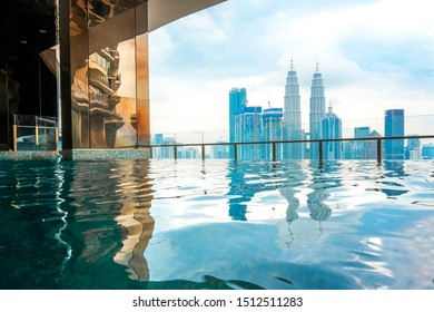City of Kuala Lumpur (KLCC), Malaysia reflections view from Swimming pool.