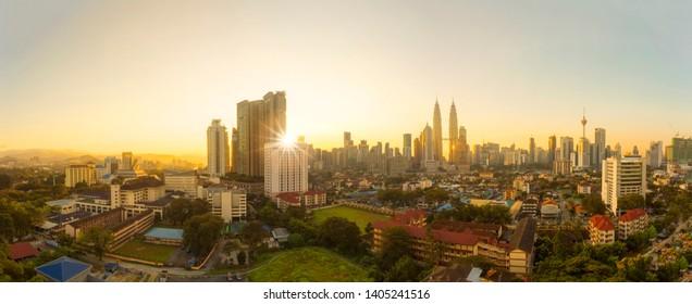 City of Kuala Lumpur, Malaysia with ariel view and harsh sunlight