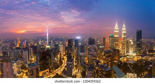 City of Kuala Lumpur at the sunset