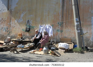 City of Kurgan, Russia, August 15, 2012: A hardware market in the courtyard. Business for poor people.