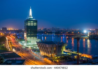 City of Lagos at night with lots of lights