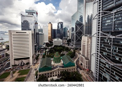 City landscape with business buildings by day in Hong Kong