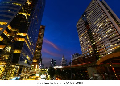 city Landscape in the capital Before sunset , Chong Nonsi , Bangkok , Thailand .