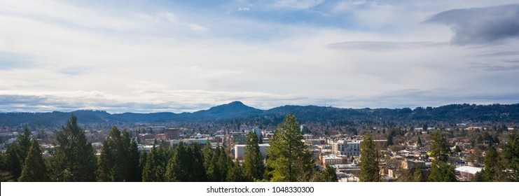 City and Landscape of Eugene Oregon better known as Track town USA on a sunny day.