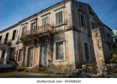 City landscape  in Fiscardo, Kefalonia in Greece