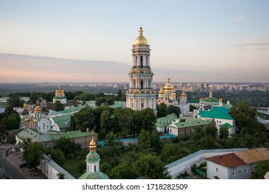 City landscape in Kiev, tourist attraction Kiev-Pechersk Lavra with a bell tower. UNESCO Landmark. Bird's-eye view.