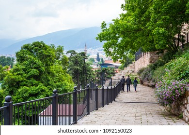 City landscape. Lookout in Bursa, descending the stairs Turkey.