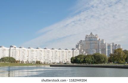 City landscape. Minsk. Belarus. RiverCity Svisloch landscape.