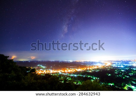 City landscape at nigh with Milky Way galaxy, Long exposure photograph
