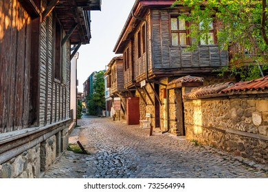 City landscape - old streets and homes in balkan style, town of Sozopol on the Black Sea coast in Bulgaria, September 14, 2017