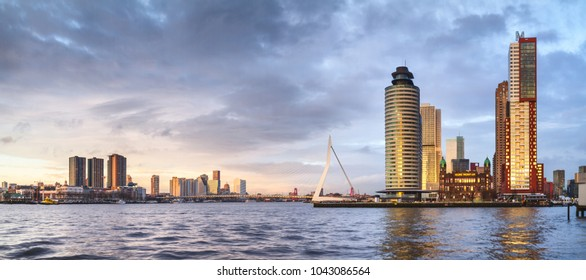 City Landscape, panorama - view on Erasmus Bridge and district Feijenoord city of Rotterdam, The Netherlands