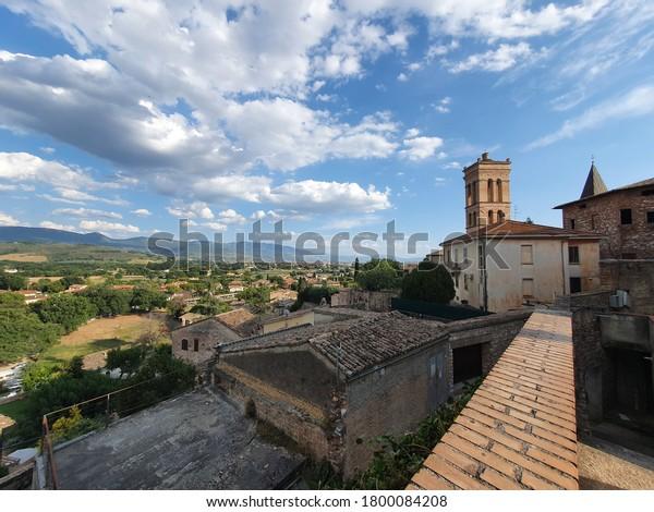 City landscape of Spello, Umbria, Italy.