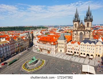 City landscape of Staromestskaya Square in Prague, the Czech Republic