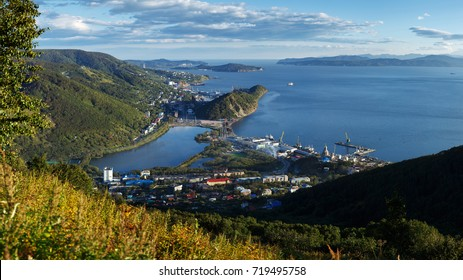 City landscape: top panorama view of Petropavlovsk-Kamchatsky City, Avacha Bay (Avachinskaya Bay) and Pacific Ocean. Kamchatka Peninsula, Russian Far East, Eurasia.