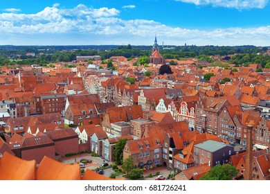 City landscape. View from the top of the German city of Luneburg. View of the roofs of the old city in Germany.