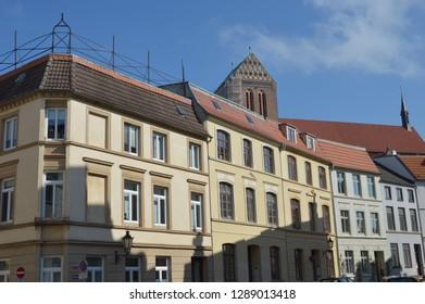 city landscape of wismar. Mecklenburg Western Pomerania, Germany, april-30-2017