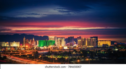 City of Las Vegas Skyline at Scenic Dusk. Colorful Lights of the World Famous Sin City. Nevada, United States. - Shutterstock ID 784650007