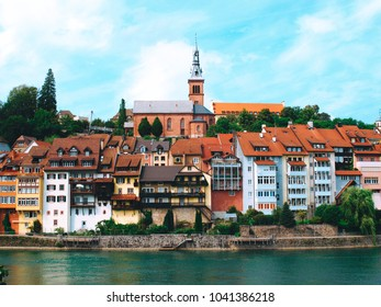 The city Laufenburg am Rhein with historic houses, Germany.