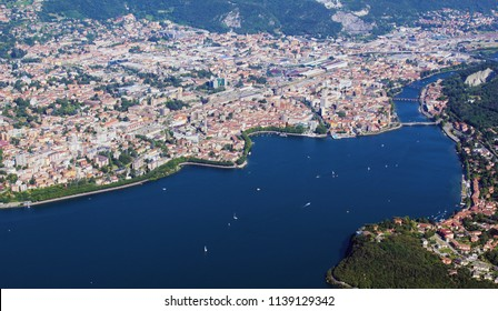 City of Lecco aerial view during summertime