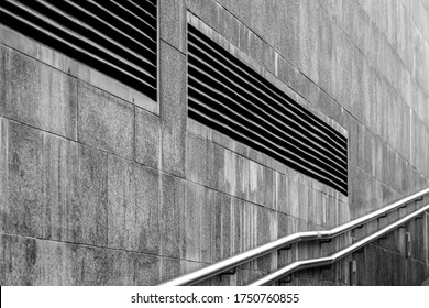 City life contrasts wall decoration railing ventilation black and white