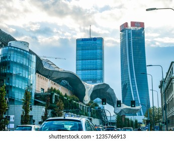 City Life District Skyscrapers in the morning traffic of Milan,Italy-November 2018 with Copyspace