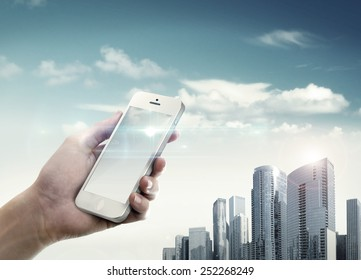 City life with mobile phone