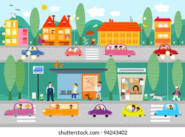 City life scene with bus stop - raster