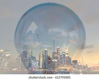 City in light bulb.