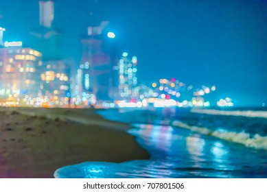 City light night blur bokeh,abstract background.(Haeundae Beach, Busan, South Korea)