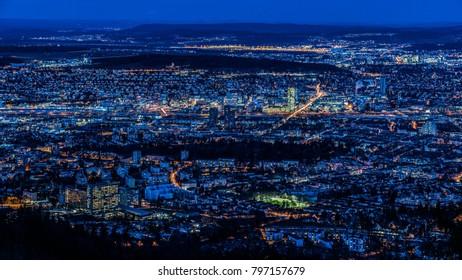 Zürich city lights by night.