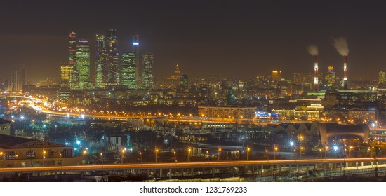 City lights of downtown Moscow