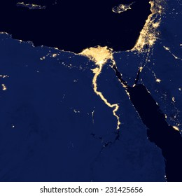 City lights Of Egypt ,Elements of this image are furnished by NASA