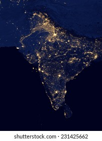 City lights Of India ,Elements of this image are furnished by NASA