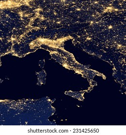City lights Of Italy ,Elements of this image are furnished by NASA