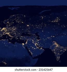 City lights Of Middle East And Europe ,Elements of this image are furnished by NASA
