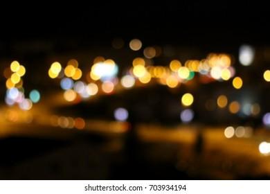 City lights at night, defocused, bokeh.