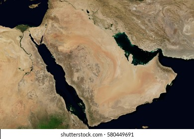 City lights on world map. Arabian Peninsula. Elements of this image are furnished by NASA