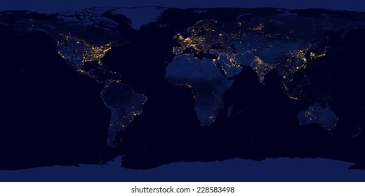 City lights on world map,Elements of this image are furnished by NASA