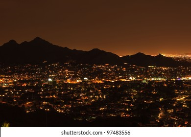City lights of Phoenix at night, Arizona USA