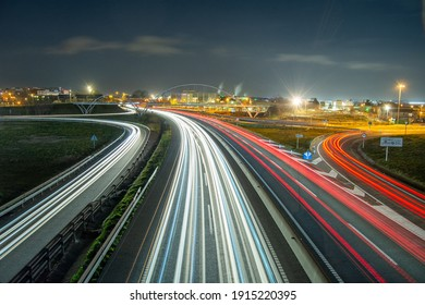 City lights in the roadway of Mollet del Vallès