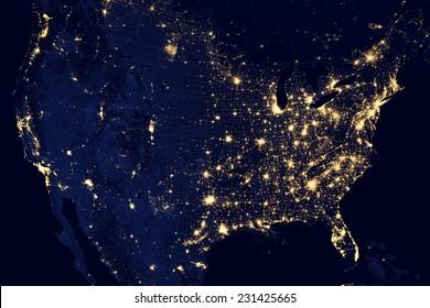 Luces de la ciudad de EE.UU., Elementos de esta imagen están amueblados por la NASA