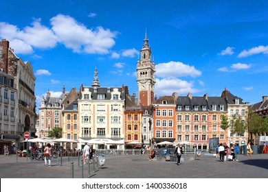 """City of Lille (north of France) - Main square with belfry and """"Vieille Bourse"""""""