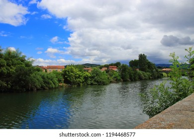 city of Limoux and Aude river in Languedoc, France