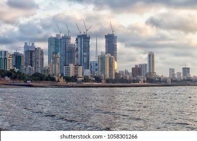 City line of Mumbai with some lovely buildings and rain clouds in the background