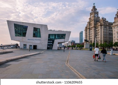 City of Liverpool, Great Britain 06.01.2018. Mersey ferries and Royal liver building with liver birds.