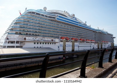City of Liverpool, Great Britain, 06.10.2018 10 th. largest cruise ship in the world Royal Princess at Liverpool Mersey Ferries port. It was built by Fincantieri at their shipyard in Monfalcone, Italy